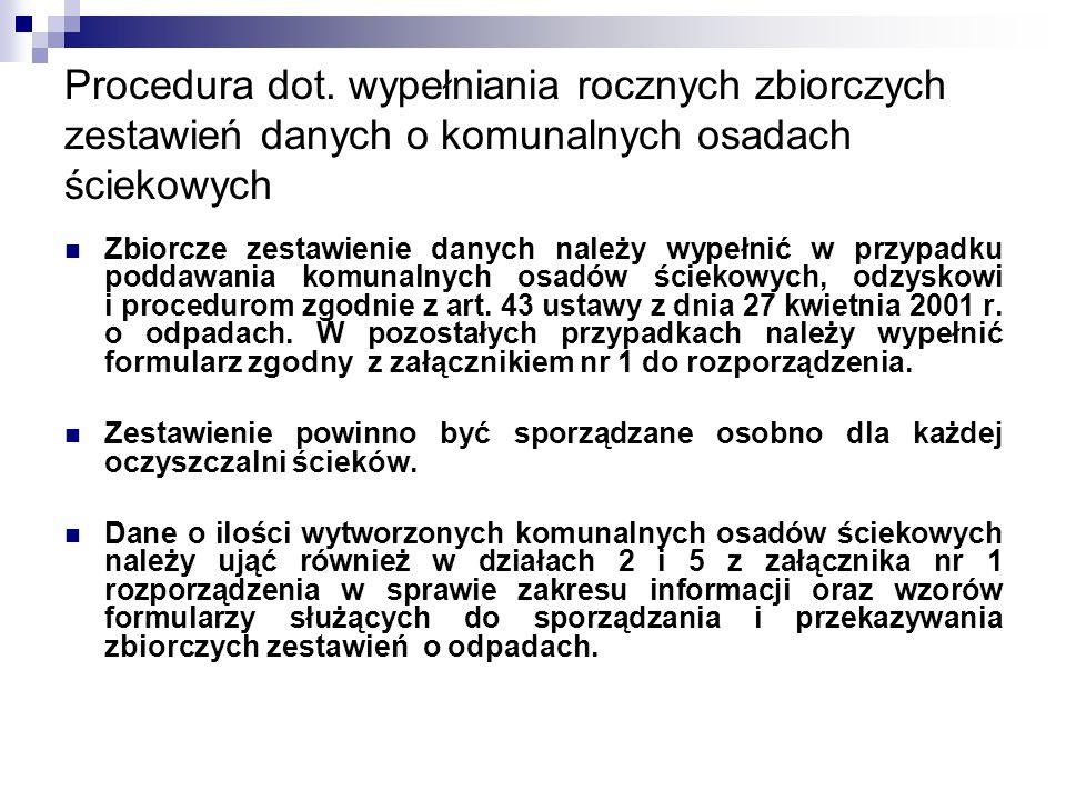 Procedura dot. wypełniania rocznych zbiorczych zestawień danych o komunalnych osadach ściekowych