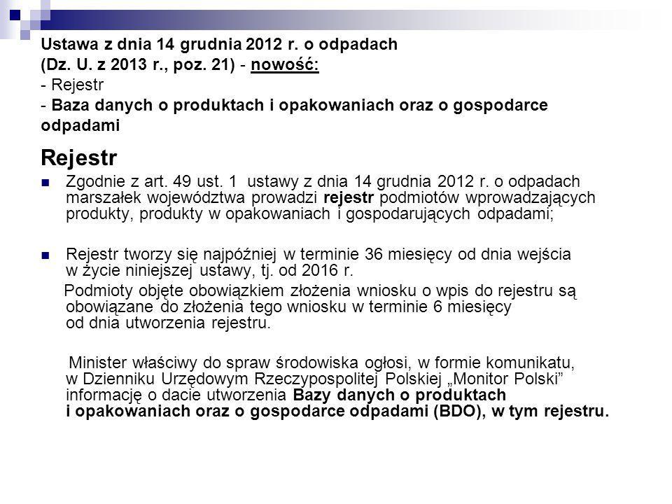 Ustawa z dnia 14 grudnia 2012 r. o odpadach (Dz. U. z 2013 r. , poz
