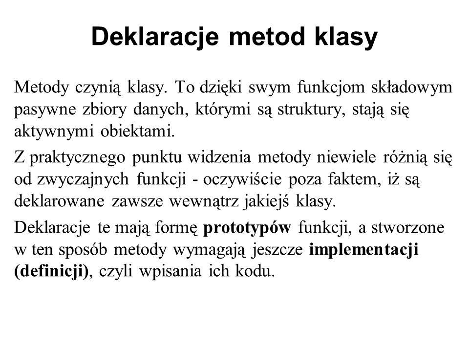 Deklaracje metod klasy