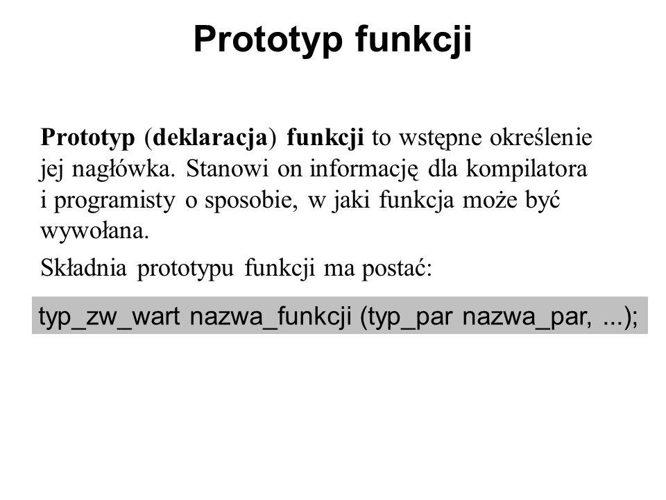 Prototyp funkcji