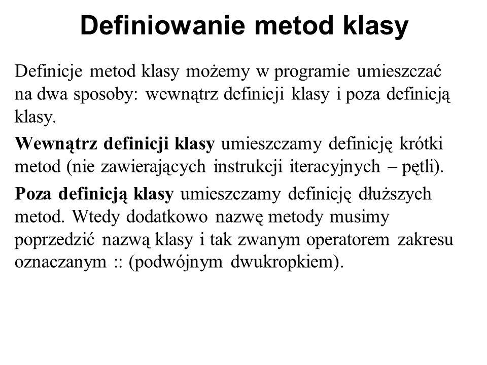 Definiowanie metod klasy