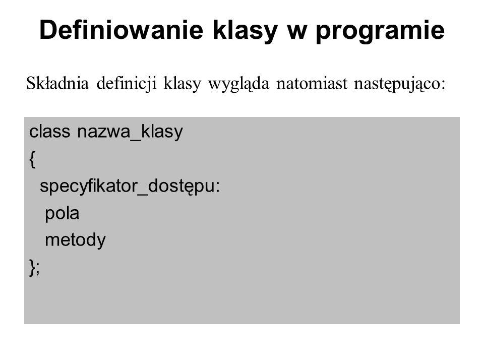 Definiowanie klasy w programie