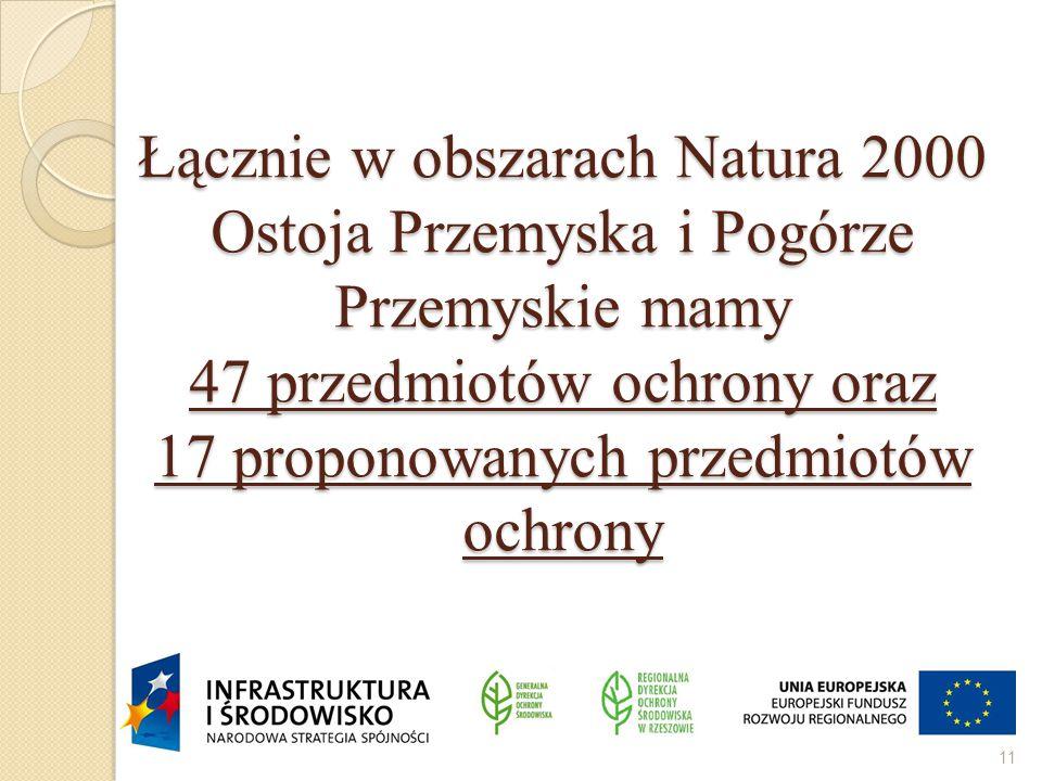 Łącznie w obszarach Natura 2000 Ostoja Przemyska i Pogórze Przemyskie mamy 47 przedmiotów ochrony oraz 17 proponowanych przedmiotów ochrony