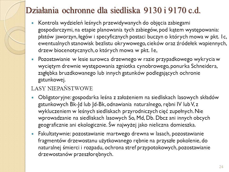 Działania ochronne dla siedliska 9130 i 9170 c.d.