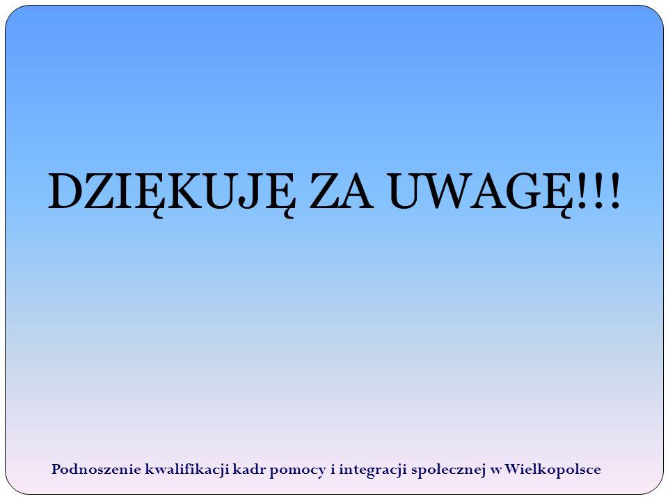 DZIĘKUJĘ ZA UWAGĘ!!! Podnoszenie kwalifikacji kadr pomocy i integracji społecznej w Wielkopolsce