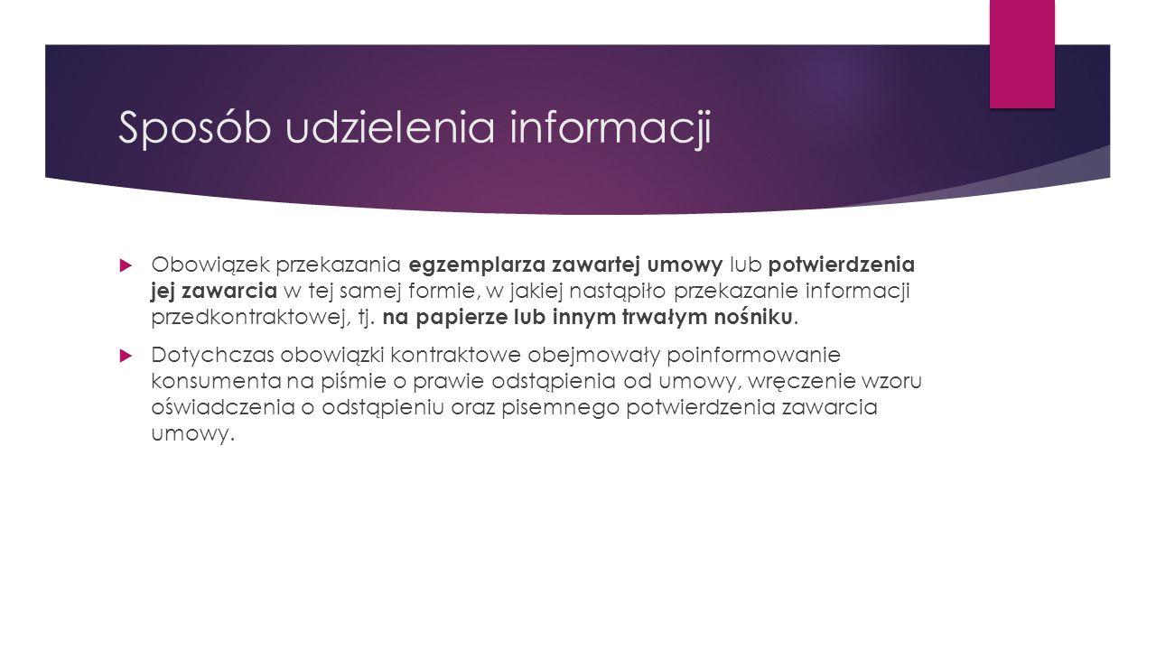 Sposób udzielenia informacji