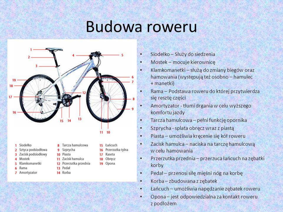 Budowa roweru Siodełko – Służy do siedzenia Mostek – mocuje kierownicę