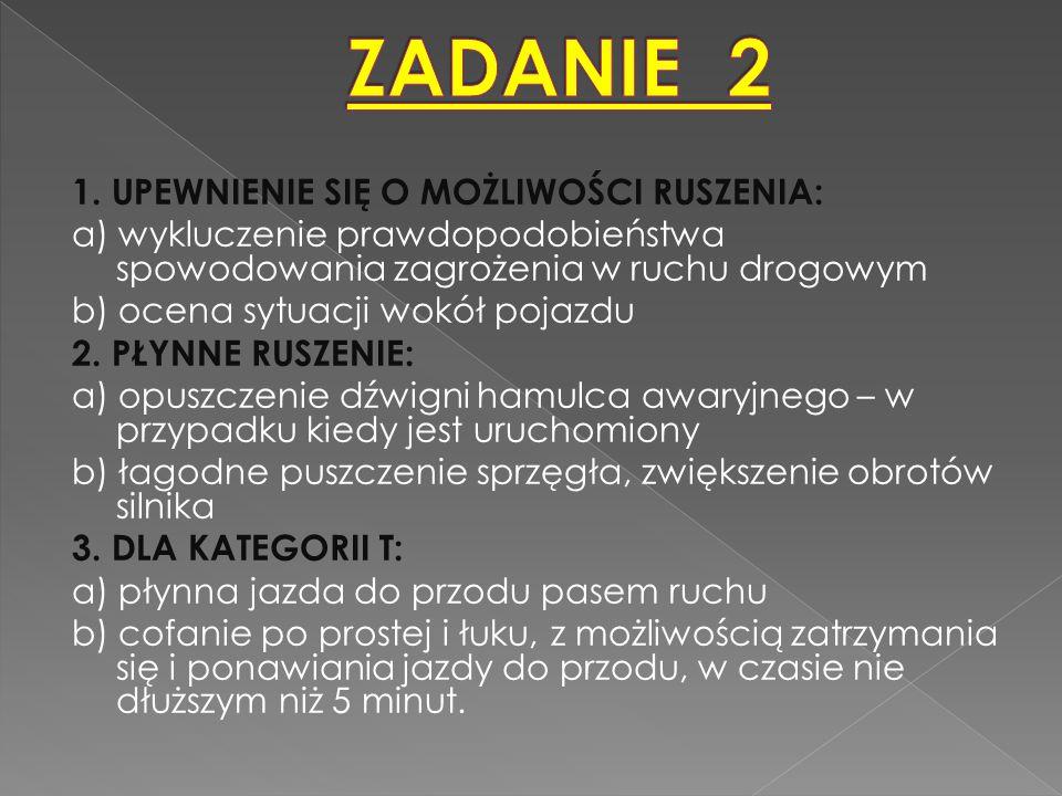 ZADANIE 2 1. UPEWNIENIE SIĘ O MOŻLIWOŚCI RUSZENIA: