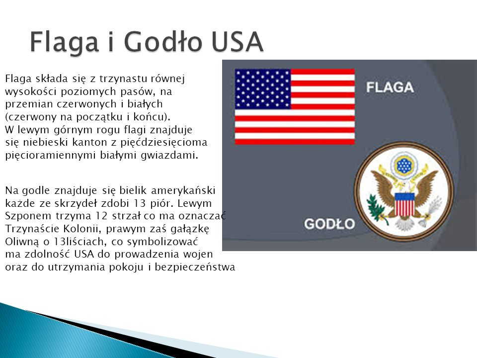 Flaga i Godło USA Flaga składa się z trzynastu równej