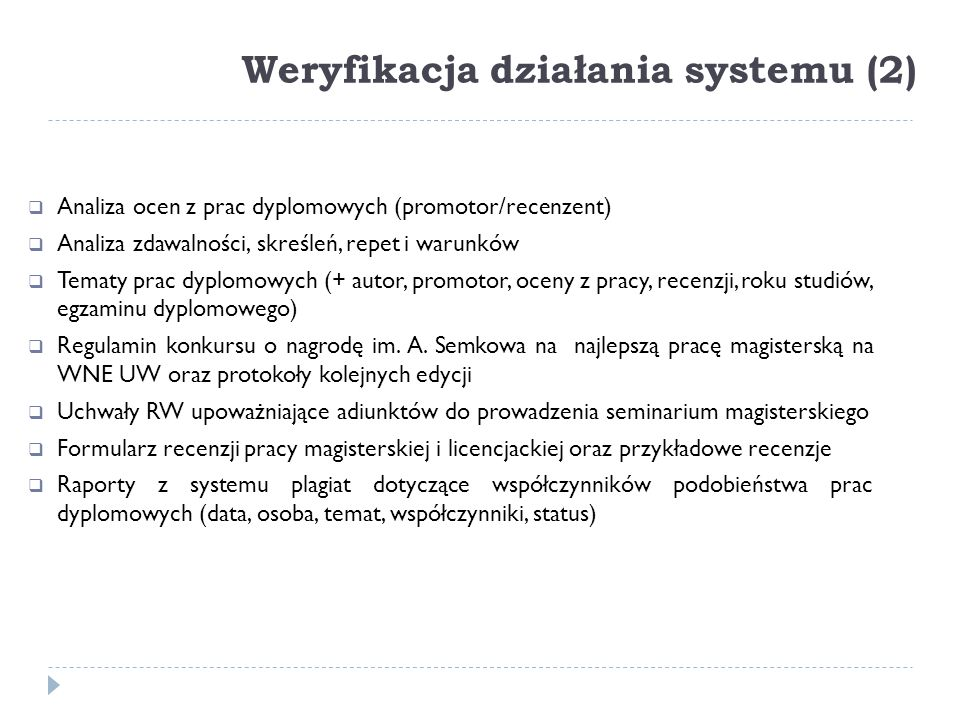 Weryfikacja działania systemu (2)