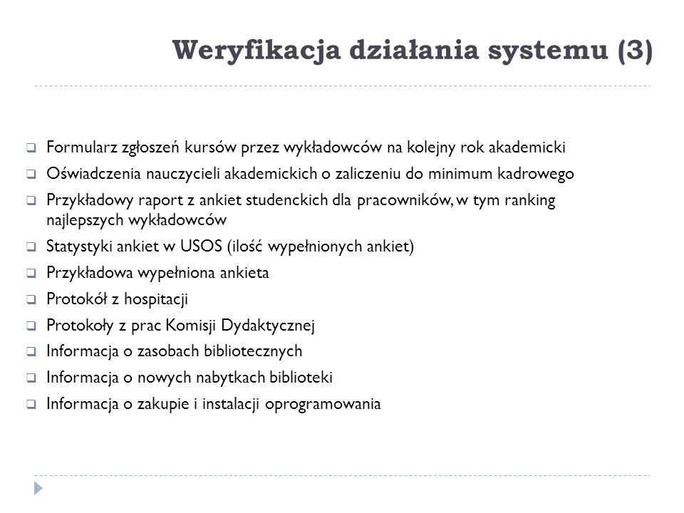 Weryfikacja działania systemu (3)