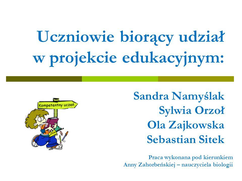 Uczniowie biorący udział w projekcie edukacyjnym: Sandra Namyślak Sylwia Orzoł Ola Zajkowska Sebastian Sitek