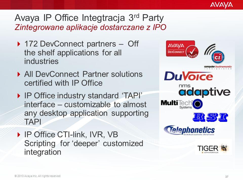 Avaya IP Office Integtracja 3rd Party Zintegrowane aplikacje dostarczane z IPO