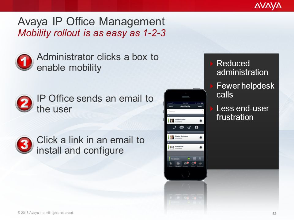Avaya IP Office Management Mobility rollout is as easy as 1-2-3