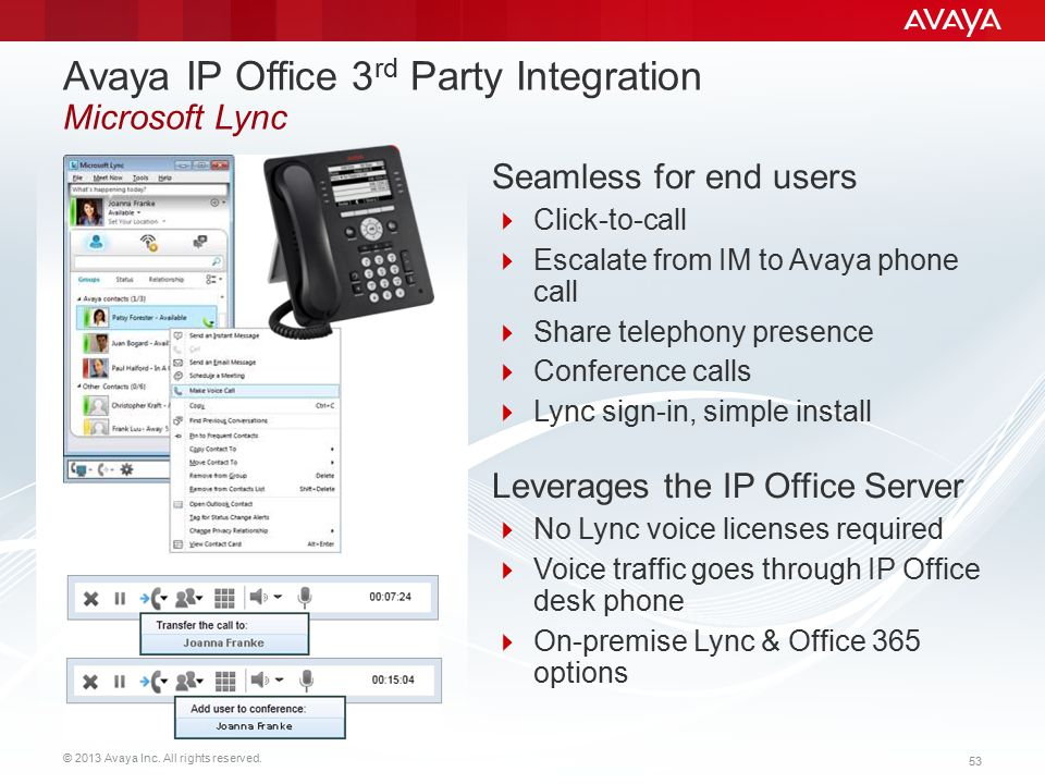 Avaya IP Office 3rd Party Integration Microsoft Lync