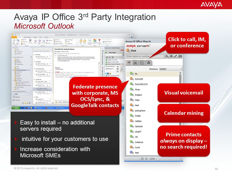 Avaya IP Office 3rd Party Integration Microsoft Outlook