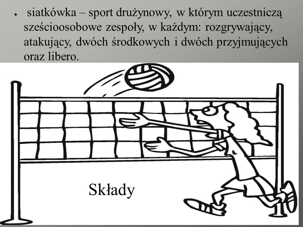 siatkówka – sport drużynowy, w którym uczestniczą sześcioosobowe zespoły, w każdym: rozgrywający, atakujący, dwóch środkowych i dwóch przyjmujących oraz libero.