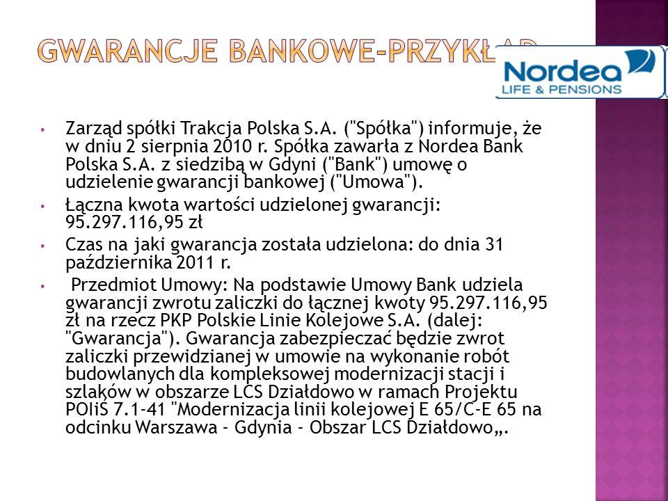 Gwarancje bankowe-przykład
