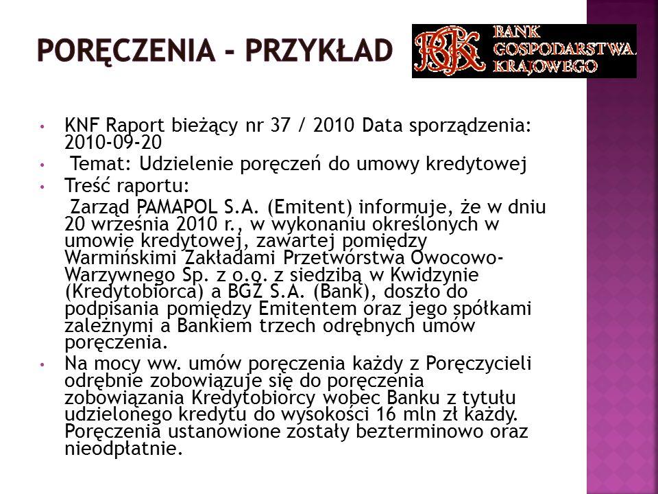 Poręczenia - przykład KNF Raport bieżący nr 37 / 2010 Data sporządzenia: 2010-09-20. Temat: Udzielenie poręczeń do umowy kredytowej.