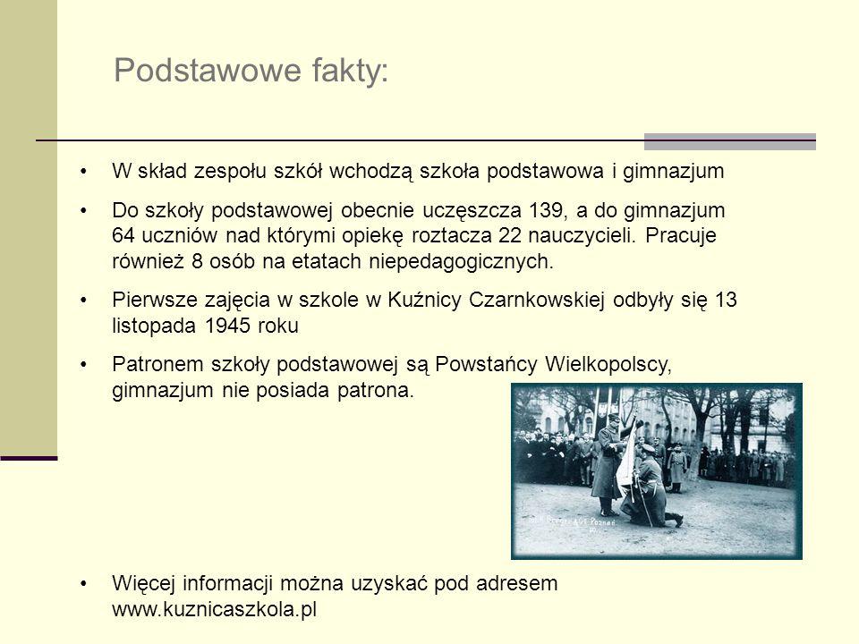 Podstawowe fakty: W skład zespołu szkół wchodzą szkoła podstawowa i gimnazjum.