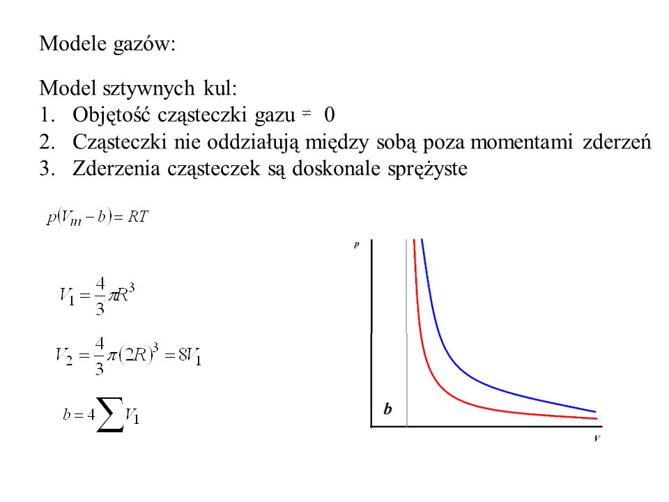 Modele gazów: Model sztywnych kul: Objętość cząsteczki gazu 0. Cząsteczki nie oddziałują między sobą poza momentami zderzeń.