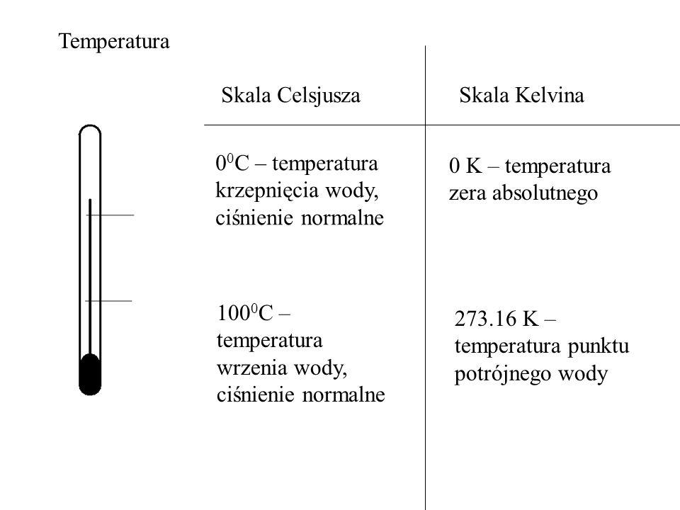 Temperatura Skala Celsjusza. Skala Kelvina. 00C – temperatura krzepnięcia wody, ciśnienie normalne.
