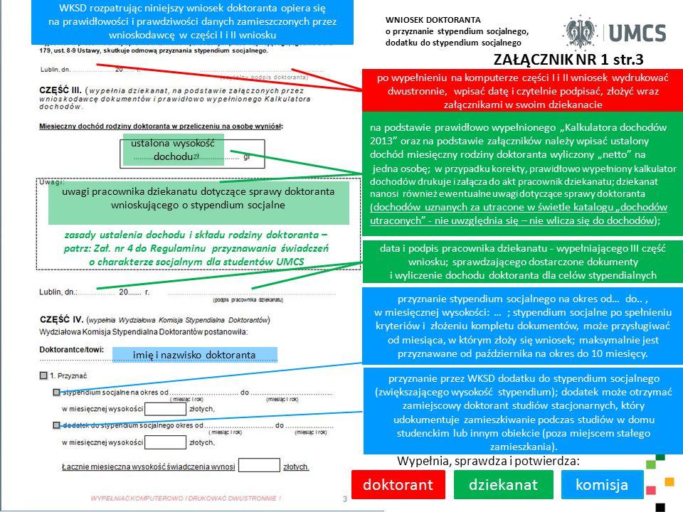 zasady ustalenia dochodu i składu rodziny doktoranta –