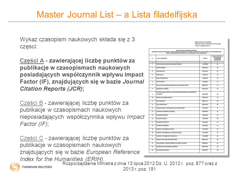 Master Journal List – a Lista filadelfijska