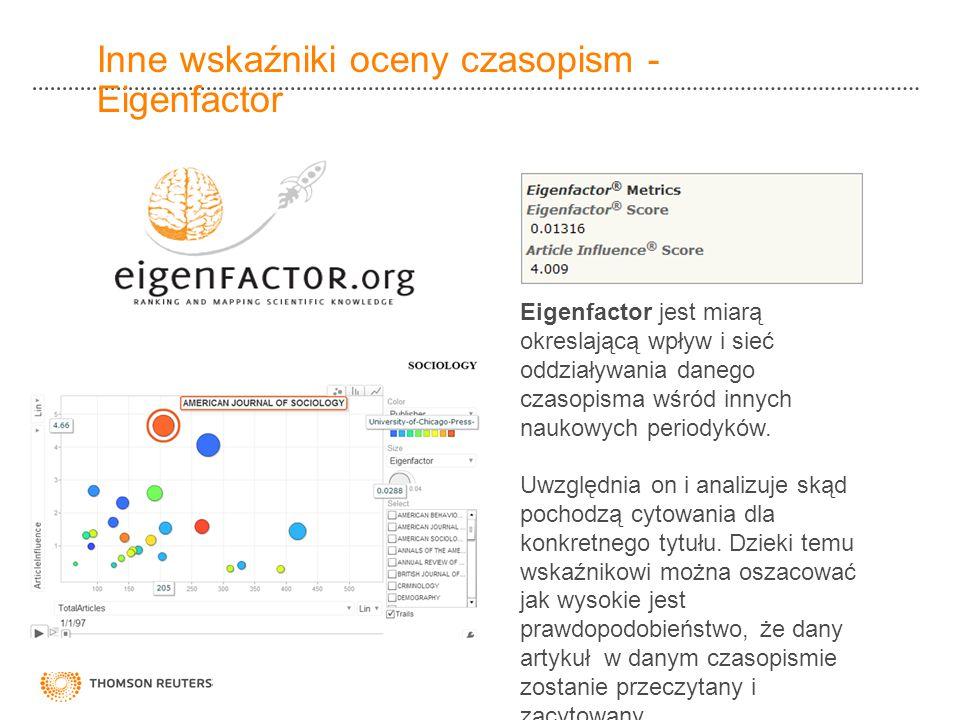Inne wskaźniki oceny czasopism - Eigenfactor