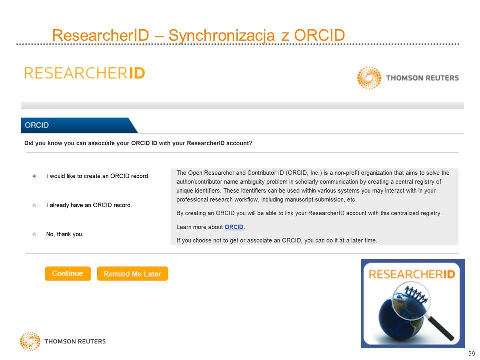 ResearcherID – Synchronizacja z ORCID