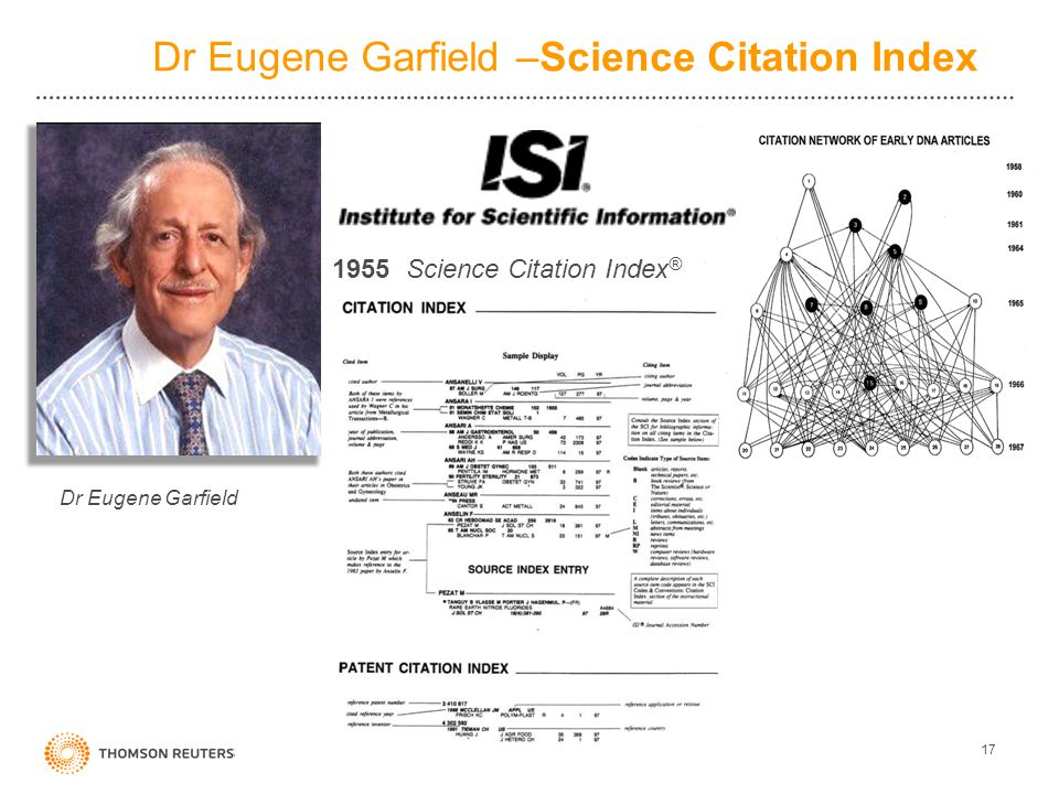 Dr Eugene Garfield –Science Citation Index