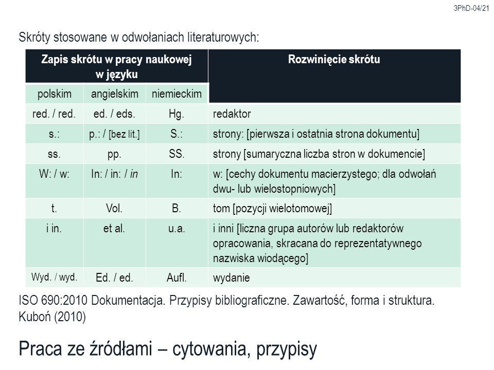 Zapis skrótu w pracy naukowej