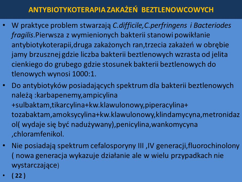 ANTYBIOTYKOTERAPIA ZAKAŻEŃ BEZTLENOWCOWYCH