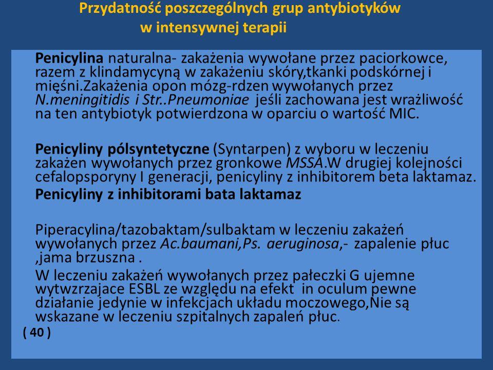 Przydatność poszczególnych grup antybiotyków w intensywnej terapii
