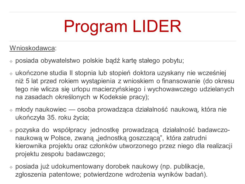 Program LIDER Wnioskodawca: