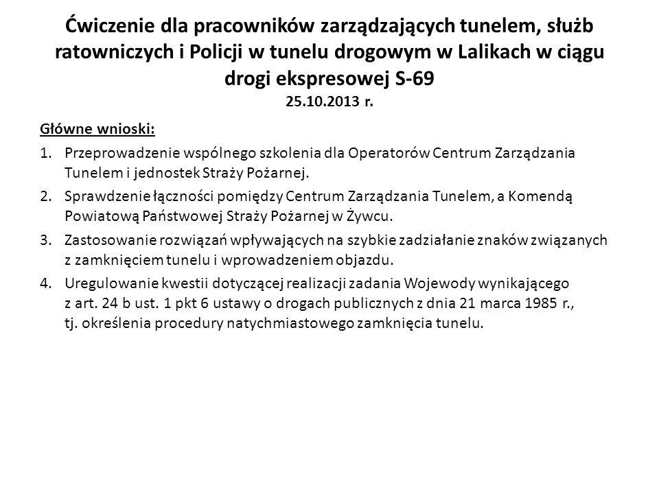 Ćwiczenie dla pracowników zarządzających tunelem, służb ratowniczych i Policji w tunelu drogowym w Lalikach w ciągu drogi ekspresowej S-69 25.10.2013 r.