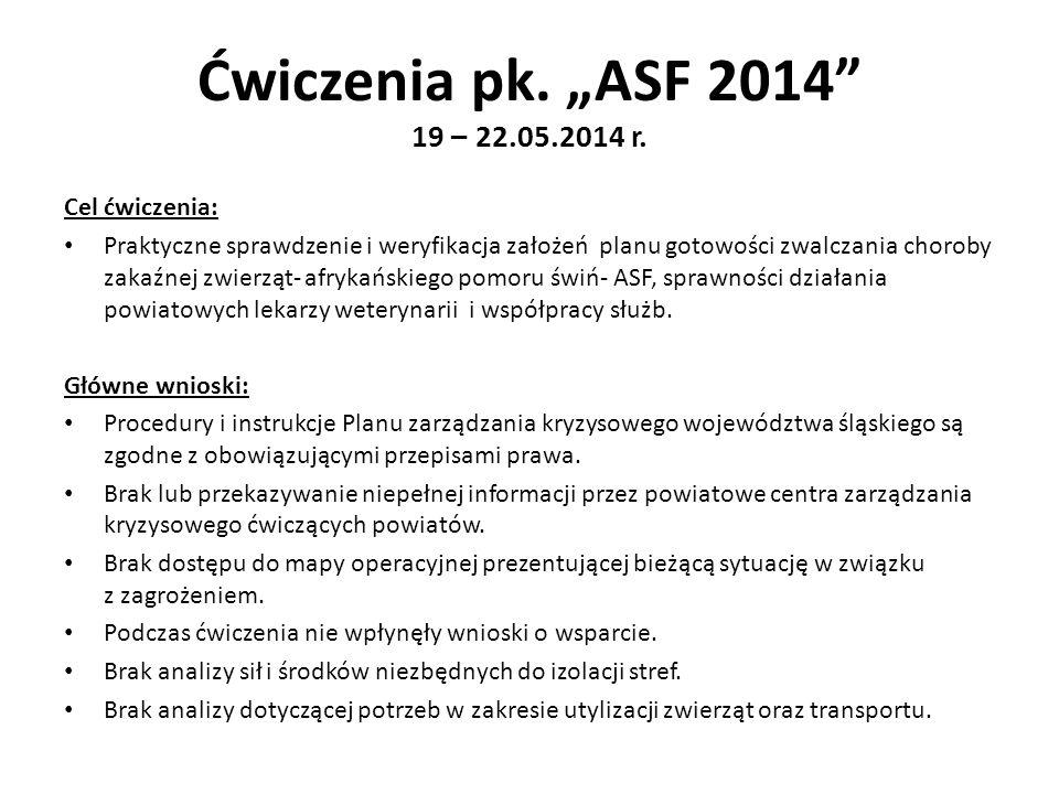 """Ćwiczenia pk. """"ASF 2014 19 – 22.05.2014 r. Cel ćwiczenia:"""