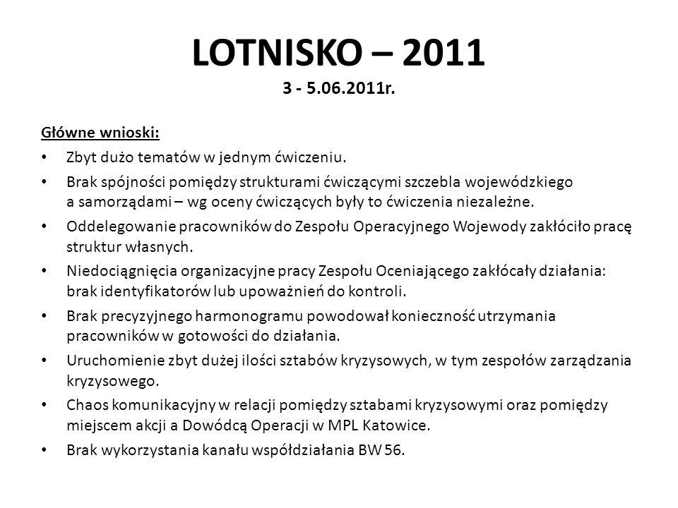 LOTNISKO – 2011 3 - 5.06.2011r. Główne wnioski: