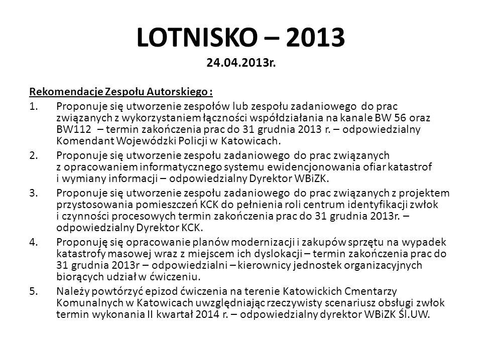 LOTNISKO – 2013 24.04.2013r. Rekomendacje Zespołu Autorskiego :