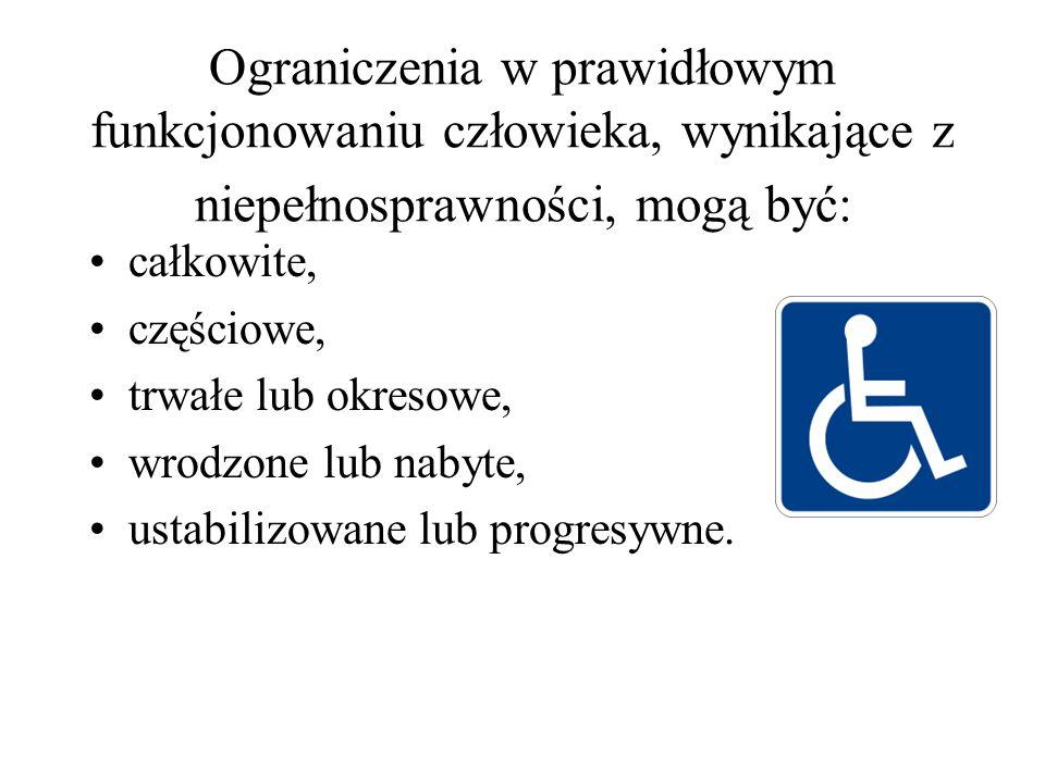 Ograniczenia w prawidłowym funkcjonowaniu człowieka, wynikające z niepełnosprawności, mogą być: