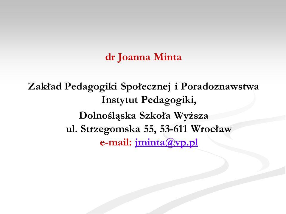 Zakład Pedagogiki Społecznej i Poradoznawstwa Instytut Pedagogiki,