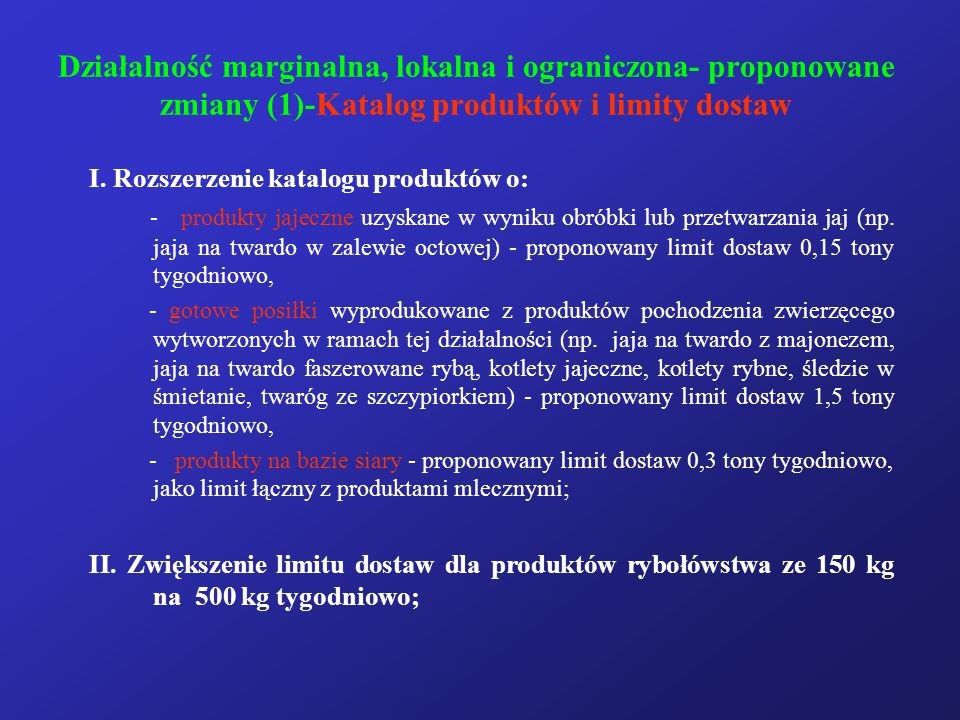 Działalność marginalna, lokalna i ograniczona- proponowane zmiany (1)-Katalog produktów i limity dostaw