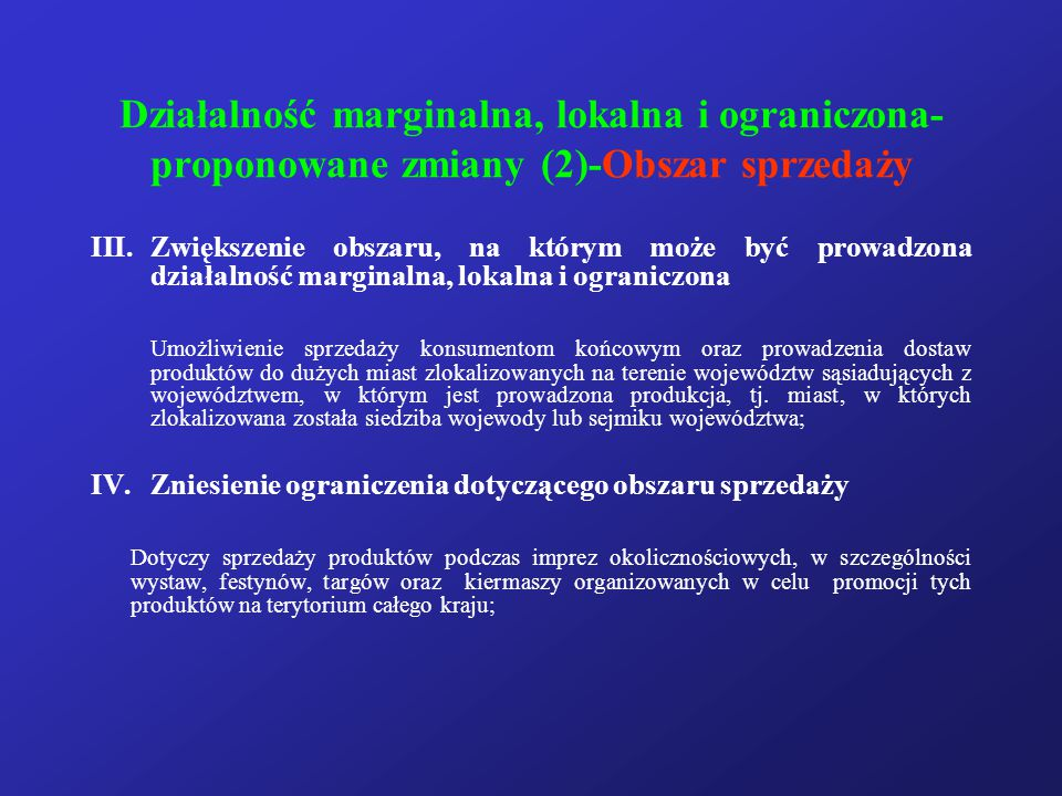 Działalność marginalna, lokalna i ograniczona- proponowane zmiany (2)-Obszar sprzedaży