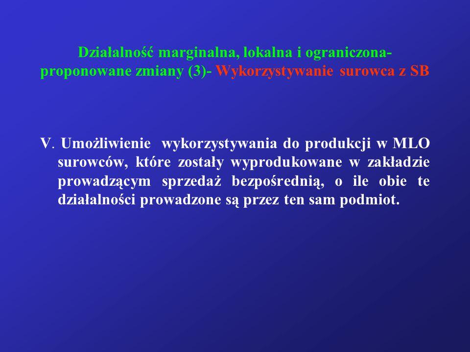 Działalność marginalna, lokalna i ograniczona- proponowane zmiany (3)- Wykorzystywanie surowca z SB