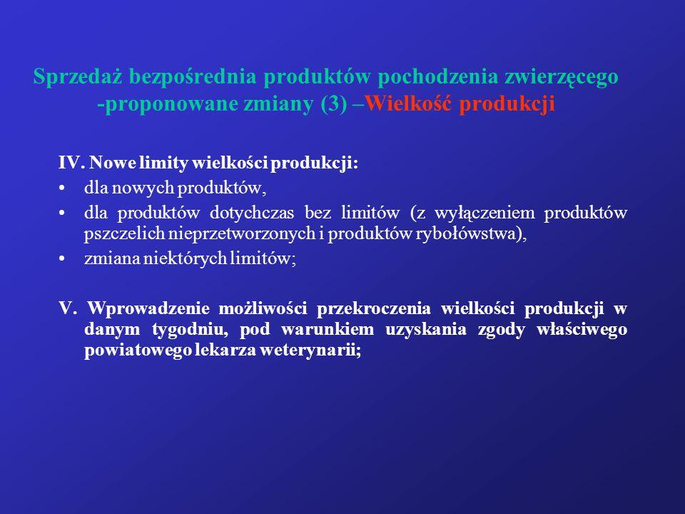 Sprzedaż bezpośrednia produktów pochodzenia zwierzęcego -proponowane zmiany (3) –Wielkość produkcji