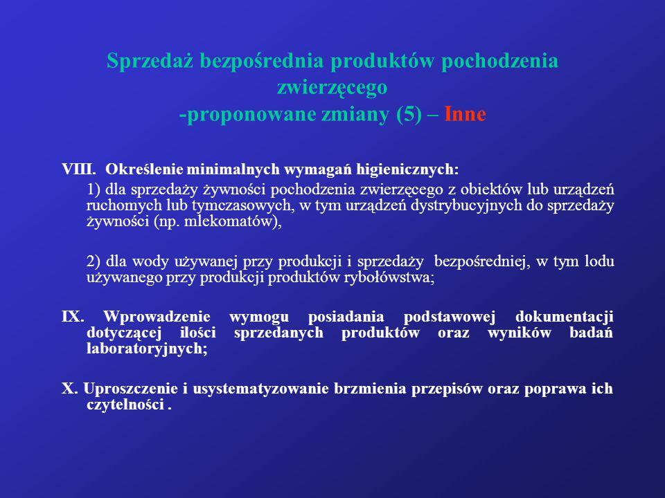 Sprzedaż bezpośrednia produktów pochodzenia zwierzęcego -proponowane zmiany (5) – Inne