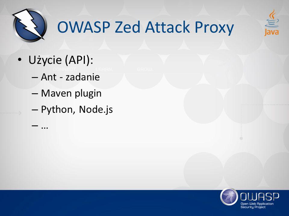 OWASP Zed Attack Proxy Użycie (API): Ant - zadanie Maven plugin