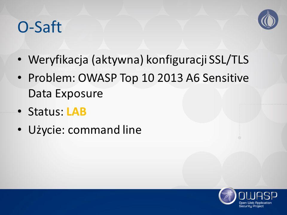 O-Saft Weryfikacja (aktywna) konfiguracji SSL/TLS