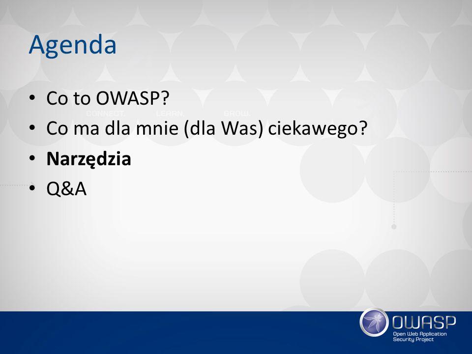 Agenda Co to OWASP Co ma dla mnie (dla Was) ciekawego Narzędzia Q&A