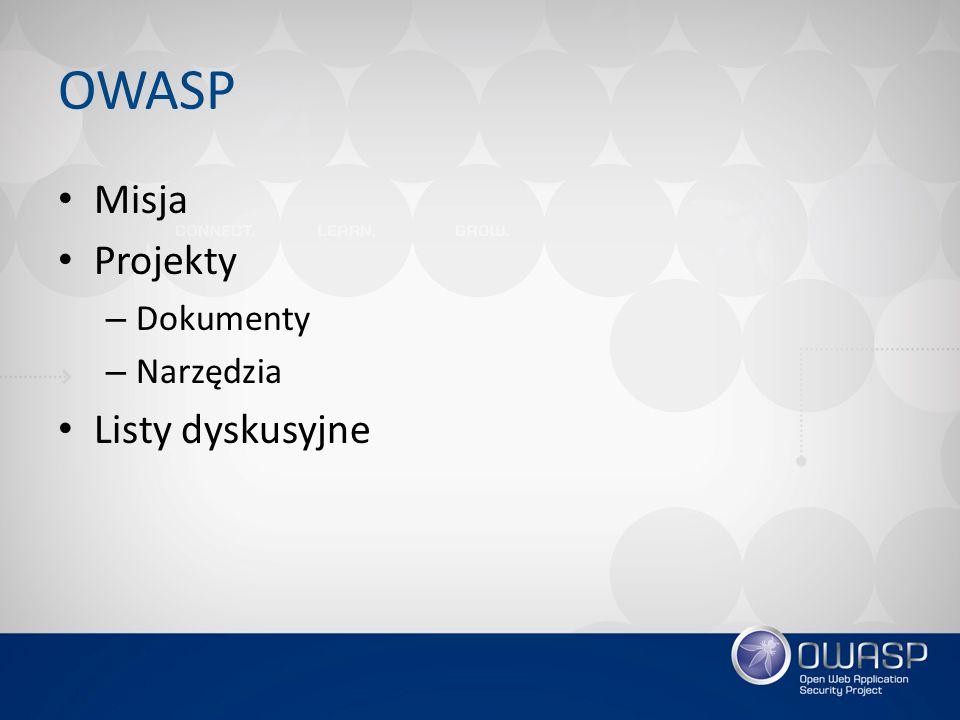 OWASP Misja Projekty Dokumenty Narzędzia Listy dyskusyjne